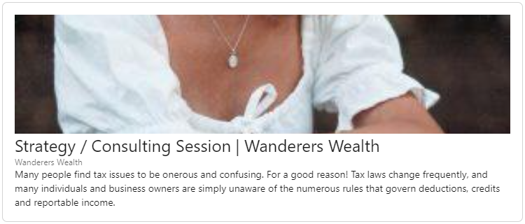 Strategy / Consulting Session | Wanderers Wealth